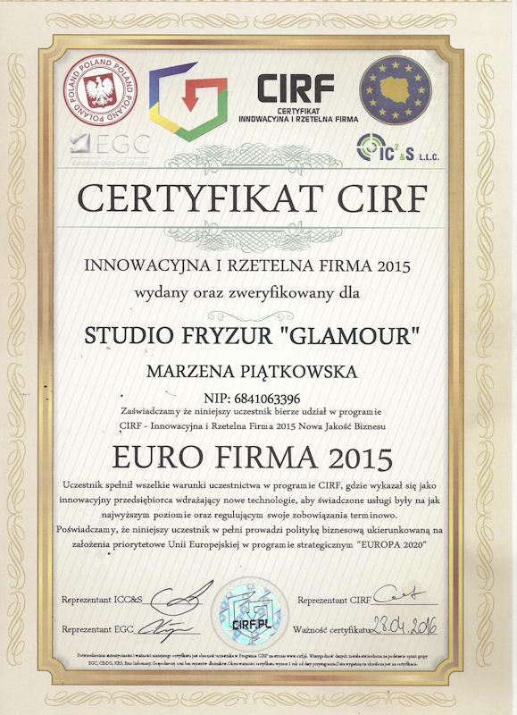 Certyfikat CIRF - Studio Fryzjerskie GLAMOUR Krosno